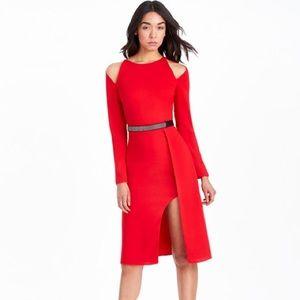 HALSTON HERITAGE red crepe dress 0